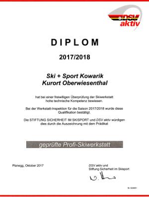 Zertifikat DSV Skiservice Sicherheit im Wintersport